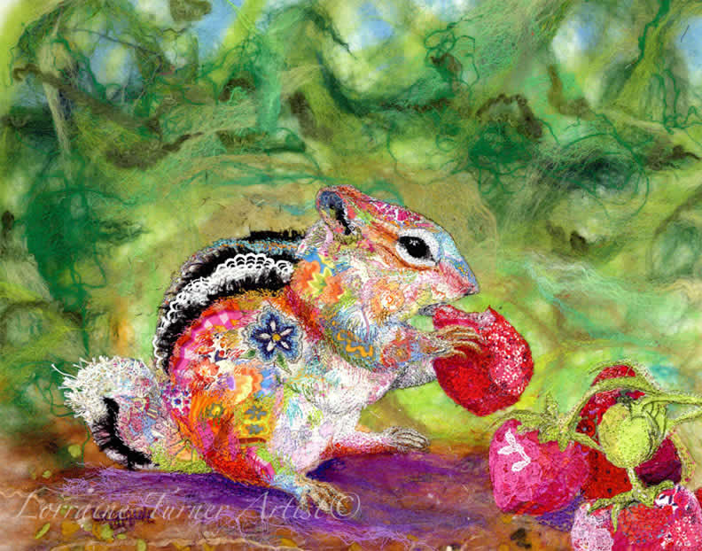 Textile Embroidered Chipmunk & Strawberries  – Italy