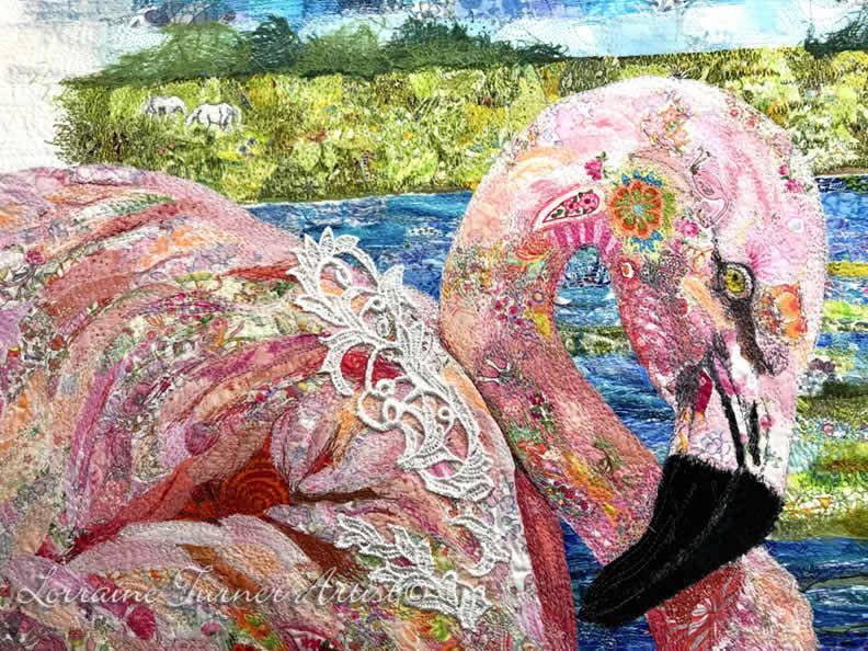 Textile Embroidered Flamingo  – Italy
