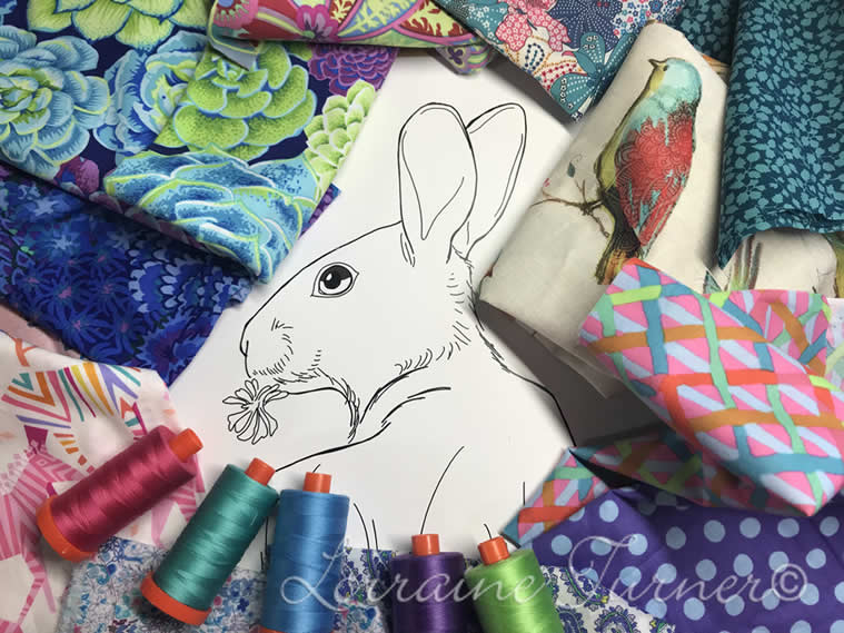 """Fabric Collage """"Bunny In Bloom""""- Rome, Italy"""