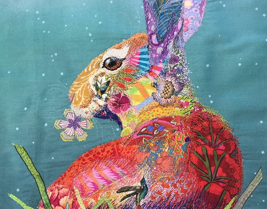 "Fabric Collage ""Bunny In Bloom"" – Rome, Italy"