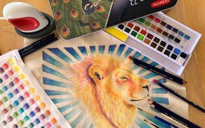 "Inktense Fabric Painting Webinar – ""His Majesty"""